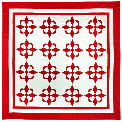 Hand Applique Red and White Compass styled QUILT TOP