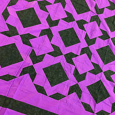 Imperial Purple abstract Block & Borders QUILT TOP