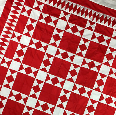 Red and White Ohio Star Graphic QUILT TOP - Diamond Borders
