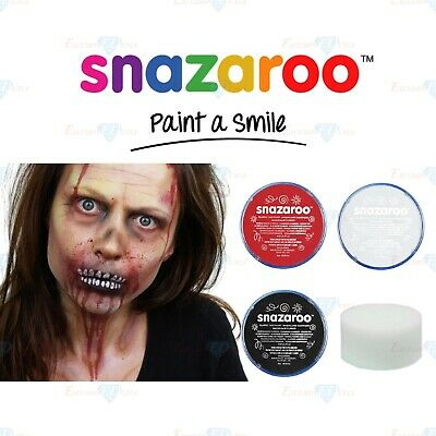 Snazaroo ZOMBIE Halloween Black, White & Red Face & Body Paint Make Up