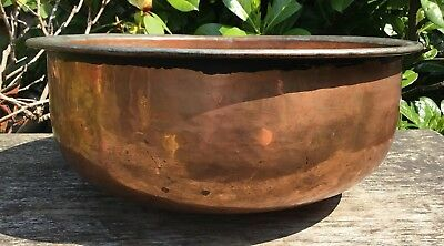 Large Vintage Antique Hammered Round Bottom Copper Mixing Fruit Bowl Heavy 1.5kg