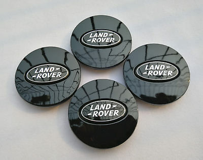 4x 2.5 Inch All Black Logo Range Rover Land Rover Wheel Center Caps 63MM