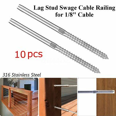 """T316 316 Stainless Steel Lag Screw Stud Hand Swage Cable Railing for 1/8"""" Cable"""