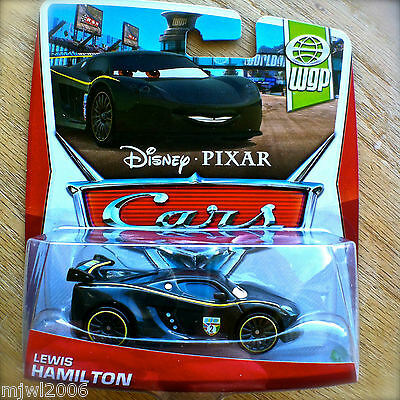 Disney PIXAR Cars LEWIS HAMILTON on 2013 WGP THEME CARD diecast 11/17 UK RACER