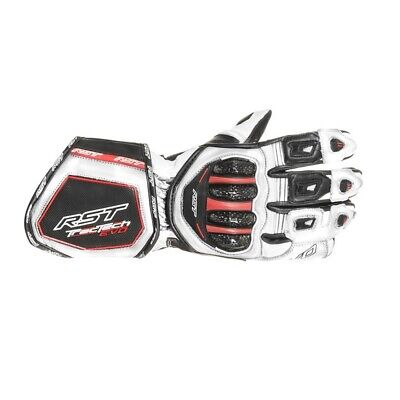 RST Tractech Evo CE White Leather Motorcycle Gloves