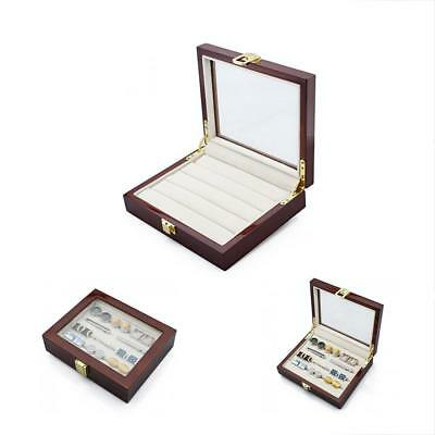 Wood Cufflinks Case With Glass Top Ring Storage Organizer For Men And Women