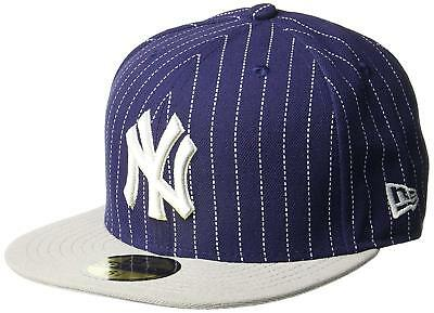 A01 NEW ERA 59FIFTY Baseball Cap NEW YORK YANKEES Blue Grey Pinstripe Var Sizes