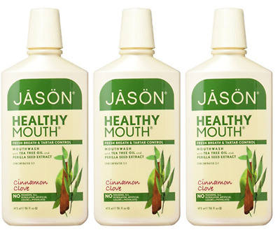 3x  JASON Natural Products - Mouthwash Healthy Mouth Tea Tree & Cinnamon 16 oz