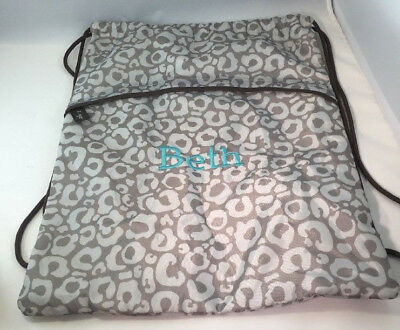 """Thirty One Cinch Sac..GRAY/WHITE Pattern -Thirty One Bag Embroidered Name """"Beth"""""""