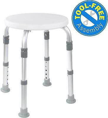 Vaunn Medical Tool Free Adjustable Round Shower Chair Seat Stool for Spa Bathtub