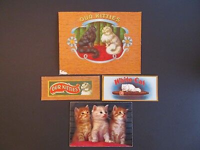 Lot 4 Vintage Cigar/tobacco Labels Our Kitties White Cat Plus Squeaker Post Card