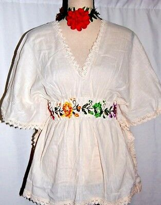Ivory Blouse Hand Embroidered womens Mexico Boho Frida Butterfly cotton gauze