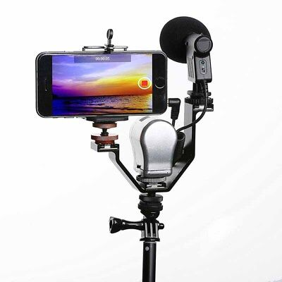 V-shape Triple Mount Hot Shoe Flash Bracket for LED Speedlite Camera Microphone