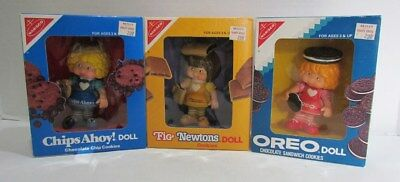 NABISCO COOKIES OREO FIG NEWTONS CHIPS AHOY! VINYL AD FIGURE DOLL SET MIB 1980's