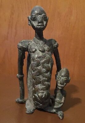 Rare African Antique Bronze Parent/Child Figural sculpture from The Dogon Tribe