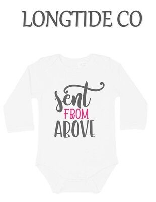 Sent From Above,Angel,Heaven Baby Vest Grow top,New Baby,New Arrival,Funny,Cute