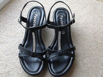 68fc191ff10e Pavacini Ladies Black Leather Diamante Trim T Bar Wedge Heel Sandals Size 7  New