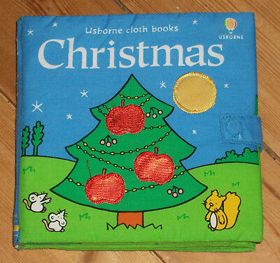 Usborne Christmas touchy feely cloth book textures, rattle, lift -the- flap