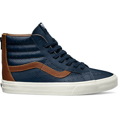 aa12081bf8 Vans SK8 Hi Reissue Zip Leather Perf Dress Blues Men s Skate Shoes Size 7.5