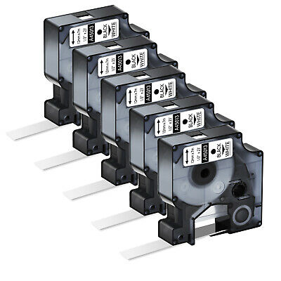 "5PK Black on White Label Tape 12mm 1/2"" For DYMO D1 45013 LabelManager 280"