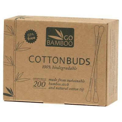 Go Bamboo 100% Biodegradable Sustainable Natural Cotton Buds Tips Sticks x 200