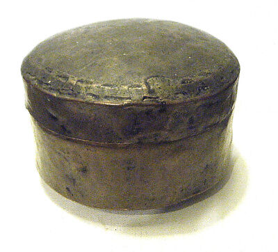 """ANTIQUE 1800s PRIMITIVE HAMMERED COPPER BRASS ROUND LIDDED MIDDLE EASTERN BOX 5"""""""