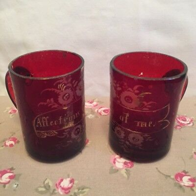 PAIR ANTIQUE VICTORIAN - SWEETHEART CRANBERRY GLASS VASES Think Of Me Affections