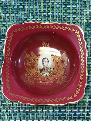 1937 Coronation King Edward Viii ,staffordshire China Red Square Dish W/gold