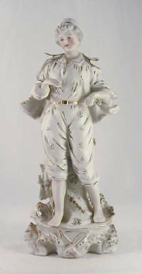 Vintage Bisque Figurine Boy Young Man Wearing Hat & Jacket Hand Paint in Japan
