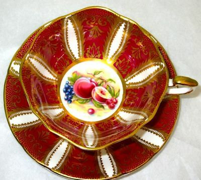Paragon FRUITS Burgundy Red Gold Fine Bone China Cup & Saucer