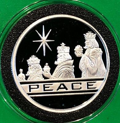 Seasons Greetings 3 Kings Peace Proof Coin 1 Troy Oz .999 Fine Silver Rare Round