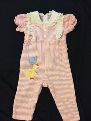 By Thomas VTG Pink White Striped Short Sleeved Girls Baby Romper 12 Months