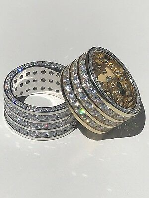Men Tennis Ring 14k Gold Over Solid 925 Silver Diamond Pinkie Pinky Wedding Band