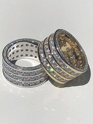 Mens Tennis Ring 14k Gold Over Solid 925 Silver Diamond Pinky Wedding Band REAL