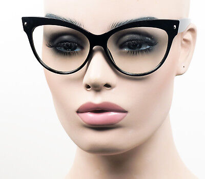 Oversized Cat Eye Womens Glasses Pinup Vintage Style Clear Lens ST18