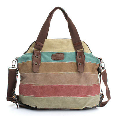 Borsa Donna Tela Canvas Striped Bauletto Tracolla Borsetta Shoulder Handbag