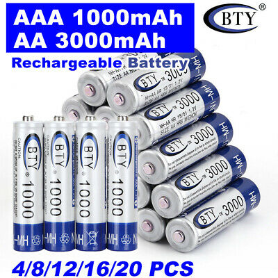3000mAh AA/1000mAh AAA Rechargeable Battery NI-MH 1.2V Recharge Batteries 4-20x