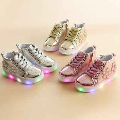 Baby Kids Boys Girls LED Shoes Light Up Luminous Sport Shoes Trainers Sneakers
