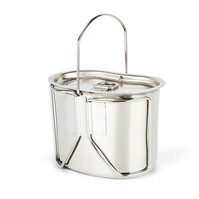 Outdoor Stainless Steel Army Military Cup Kettle Bowl Pot Lunch box With Hanging