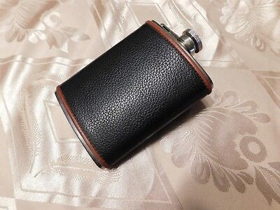 Vintage 6 Oz Stainless Steel Flask in Black Leather Wrap