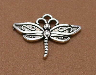 DIY 16pcs Tibet silver Dragonfly Necklace Charm Pendant beads Jewelry Making —