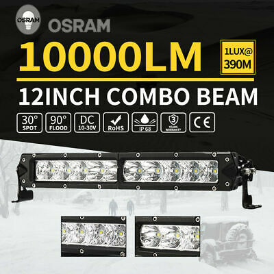 "Single Row 12inch OSRAM LED Light Bar Spot Flood Offroad 4WD Reverse Slim 10""15"""