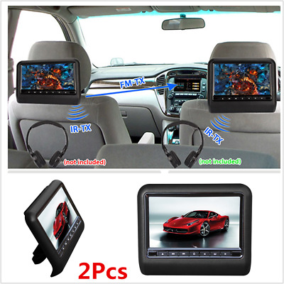 "2X 9"" HD Digital LCD Screen Car Headrest Monitor HDMI DVD/USB/SD/FM/Games Player"