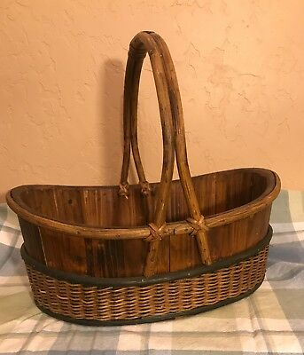Antique/Vintage Wooden Hand Made Basket w/ Cane Handle and Trim *Rare*