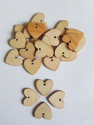 25 Mini heart 2.0cm  Natural Small Wooden buttons Wood card making love