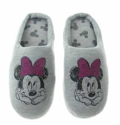 Hausschuhe Damen weich Disney Minnie Mouse grau warm Kinder Schlappen Slipper