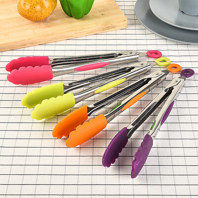 Silicone Cooking Salad Steak BBQ Food Tongs Stainless Steel Handle Kitchen Tools