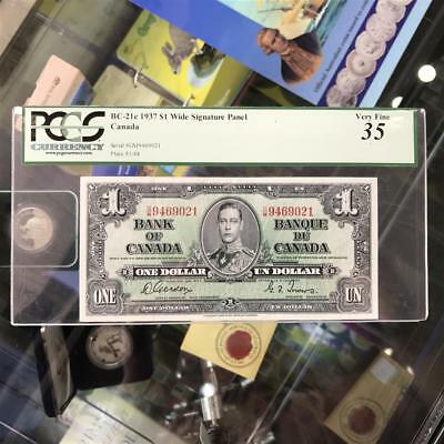 Canada 1937 $1 One Dollar Wide Signature Panel Banknote PCGS VF35 BC-21c