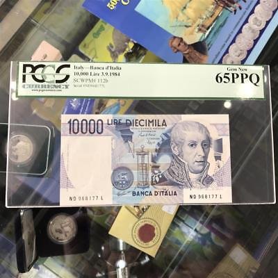 Bank of Italy 10,000 Lire 1984 Banknote PCGS Gem New 65 PPQ P.112b A. Volta
