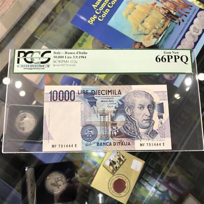 Bank of Italy 10,000 Lire 1984 Banknote PCGS Gem New 66 PPQ P.112c A. Volta